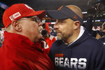 Kansas City Chiefs head coach Andy Reid, left, and Chicago Bears head coach Matt Nagy talk after an NFL football game in Chicago, Sunday, Dec. 22, 2019. Kansas City won 26-3. (AP Photo/Charles Rex Arbogast)