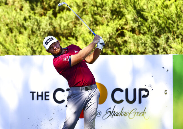Tyrrell Hatton tees off at the fifth hole during the first round of the CJ Cup golf tournament at Shadow Creek Golf Course, Thursday, Oct. 15, 2020, in North Las Vegas. (Chase Stevens/Las Vegas Review-Journal via AP)