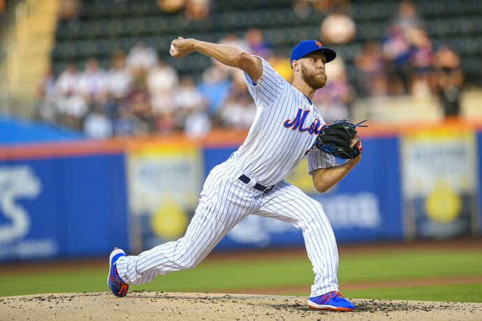 New York Mets starting pitcher Zack Wheeler throws during the first inning of a baseball game against the Pittsburgh Pirates, Friday, July 26, 2019, in New York. (AP Photo/Corey Sipkin)