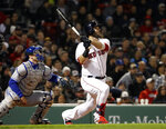 Boston Red Sox's Mitch Moreland watches his home run against the Toronto Blue Jays during the seventh inning of a baseball game Thursday, April 11, 2019, at Fenway Park in Boston. (AP Photo/Winslow Townson)