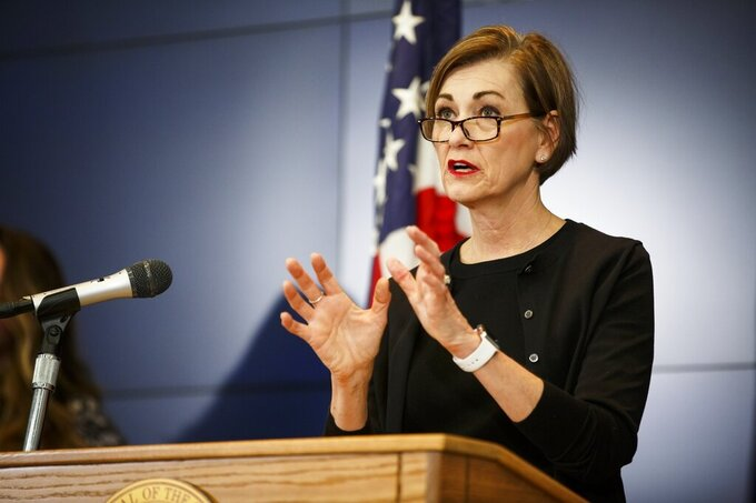 Iowa Gov. Kim Reynolds speaks during a press conference updating Iowan's on the status of COVID-19 cases, Thursday, April 2, 2020, in Johnston, Iowa. (Brian Powers/The Des Moines Register via AP, Pool)