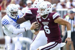 Mississippi State quarterback Garrett Shrader (6) runs the ball during the first half of an NCAA college football game against Kentucky, Saturday, Sept. 21, 2019, in Starkville, Miss. The game was Shrader's first career collegiate start. Mississippi State won 28-13. (AP Photo/Kelly Donoho)