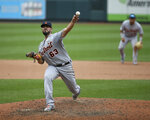 Detroit Tigers relief pitcher Nick Ramirez (63) throws during the sixth inning in the first game of a baseball doubleheader against the St. Louis Cardinals, Thursday, Sept. 10, 2020, in St. Louis. (AP Photo/Scott Kane)