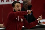 Indiana head coach Archie Miller reacts during the first half of an NCAA college basketball game against WisconsinThursday, Jan. 7, 2021, in Madison, Wis. (AP Photo/Morry Gash)