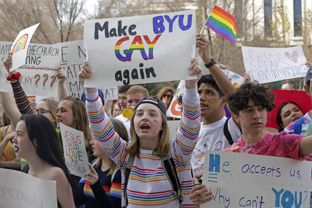 Brigham Young University student Kate Lunnen joins several hundred students protesting near The Church of Jesus Christ of Latter Day Saints church headquarters Friday, March 6, 2020, in Salt Lake City, to show their displeasure with a letter this week that clarified that