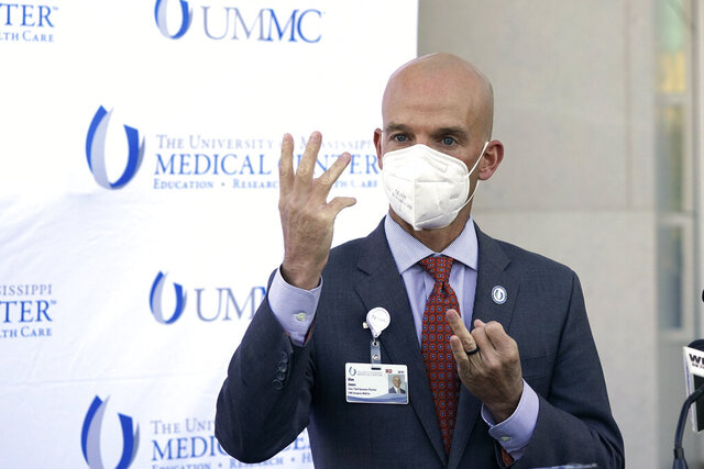 Dr. Alan Jones, assistant vice chancellor for clinical affairs at the University of Mississippi Medical Center, speaks of lack of space in the medical school's intensive care suites amid the recent spike in COVID-19 cases, Monday, Nov. 16, 2020, in Jackson, Miss. (AP Photo/Rogelio V. Solis)