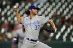 Kansas City Royals starting pitcher Jackson Kowar throws a pitch to the Baltimore Orioles during the second inning of a baseball game, Tuesday, Sept. 7, 2021, in Baltimore. (AP Photo/Julio Cortez)