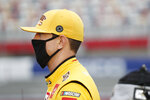 Kyle Busch waits for the start of a NASCAR Xfinity Series auto race at Charlotte Motor Speedway Monday, May 25, 2020, in Concord, N.C. (AP Photo/Gerry Broome)