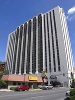 This photo taken Thursday, Aug. 22, 2019 shows the Circus Circus casino hotel tower in downtown Reno, Nev., where about 1,300 University of Nevada, Reno students are living this year after a gas explosion in July shut down two major dorms. The non-gambling, non-smoking building leased to the university for $21.7 million has been converted into Wolf Pack Hall exclusively for students through the 2019-2020 school year. (AP Photo/Scott Sonner)
