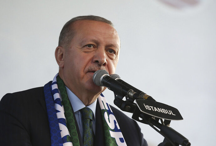 CORRECTING LOCATION TO ISTANBUL - Turkish President Recep Tayyip Erdogan addresses his supporters during an event called