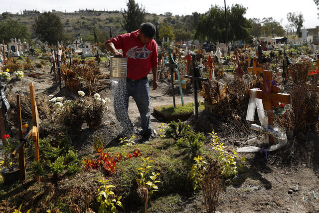 A worker waters grass and plants atop recent graves in a section of the Municipal Cemetery of Valle de Chalco opened two months ago to accommodate the surge in deaths amid the ongoing coronavirus pandemic, on the outskirts of Mexico City, Thursday, July 2, 2020. (AP Photo/Rebecca Blackwell)