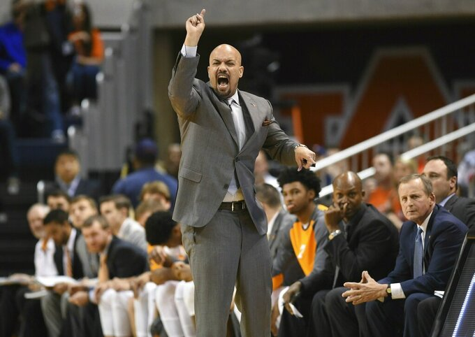 In this Jan. 2, 2016, photo, Tennessee associate head coach Rob Lanier shouts from the sideline during the first half of an NCAA college basketball game against Auburn, in Auburn, Ala. Georgia State has hired Tennessee assistant Rob Lanier to replace Ron Hunter as coach. Lanier was associate head coach for the Vols the last four seasons following four years with the same title on coach Rick Barnes' staff at Texas. (Adam Lau/Knoxville News Sentinel via AP)