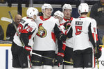 Ottawa Senators center Filip Chlapik, of the Czech Republic, second from left, is congratulated after scoring a goal against the Nashville Predators in the first period of an NHL hockey game Tuesday, Feb. 25, 2020, in Nashville, Tenn. (AP Photo/Mark Humphrey)