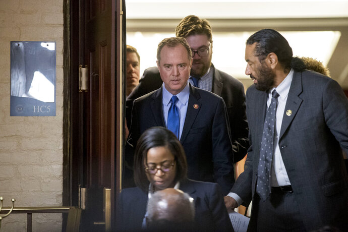 Intelligence Committee Chairman Adam Schiff, of Calif., leaves a House Democratic meeting in the U.S. Capitol Building on Capitol Hill in Washington, Monday, March 25, 2019. (AP Photo/Andrew Harnik)