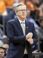 Iowa head coach Fran McCaffery gives a signal in the second half against Tennessee during a second round men's college basketball game in the NCAA Tournament in Columbus, Ohio, Sunday, March 24, 2019. Tennessee won 83-77 in overtime. (AP Photo/Tony Dejak)