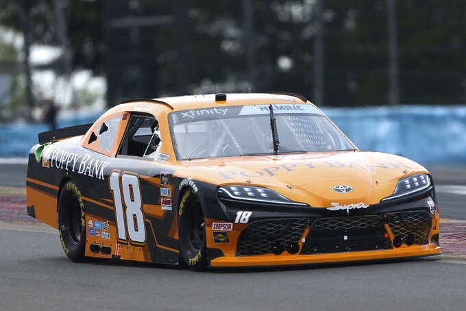 Daniel Hemric (18) goes around Turn 1 during a NASCAR Xfinity Series auto race at Watkins Glen International in Watkins Glen, N.Y., on Saturday, Aug. 7, 2021. (AP Photo/Joshua Bessex)