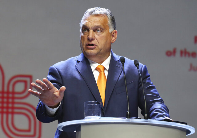 Viktor Orban Prime Minister of Hungary attends a news conference following talks with his counterparts from central Europe's Visegrad Group in Lublin, Poland, on Friday, Sept. 11, 2020. In preparation for European Union summit this month, the prime ministers of Poland, The Czech Republic, Slovakia and Hungary discussed situation in Belarus, ties with Russia and fighting COVID-19. (AP Photo/Czarek Sokolowski)