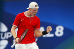 Denis Shapovalov of Canada takes the first set against Novak Djokovic of Serbia during their ATP Cup tennis match in Sydney, Friday, Jan. 10, 2020. (AP Photo/Steve Christo)