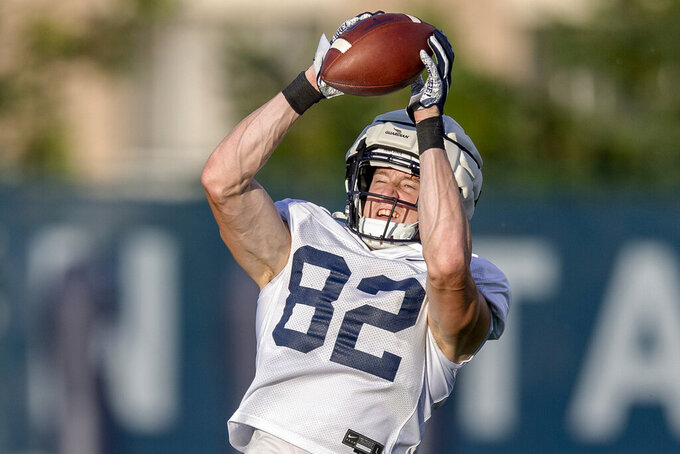 Penn State tight end Zack Kuntz hauls in a pass during NCAA college football practice, Wednesday, Aug. 28, 2019 in State College, Pa. (Joe Hermitt/The Patriot-News via AP)
