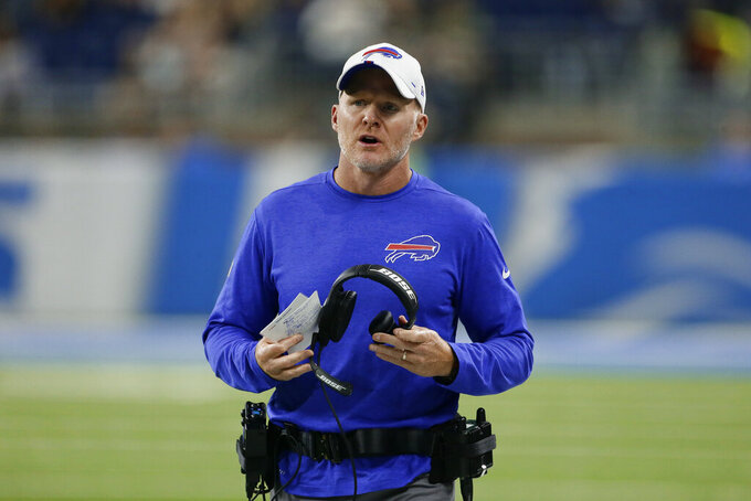 Buffalo Bills coach Sean McDermott watches during the first half of the team's NFL preseason football game against the Detroit Lions in Detroit, Friday, Aug. 23, 2019. (AP Photo/Duane Burleson)