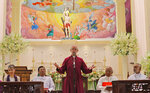The Archbishop of Canterbury Justin Welby delivers a speech in memory of victims of the Easter Sunday attacks at St. Sebastian's church in Katuwapitiya village, Negombo , Sri Lanka, Thursday, Aug. 29, 2019. The figurehead of the Church of England visited the church in the seaside town of Negombo soon after he arrived on a three-day visit to Sri Lanka. More than 100 people died in the church in Negombo, known as