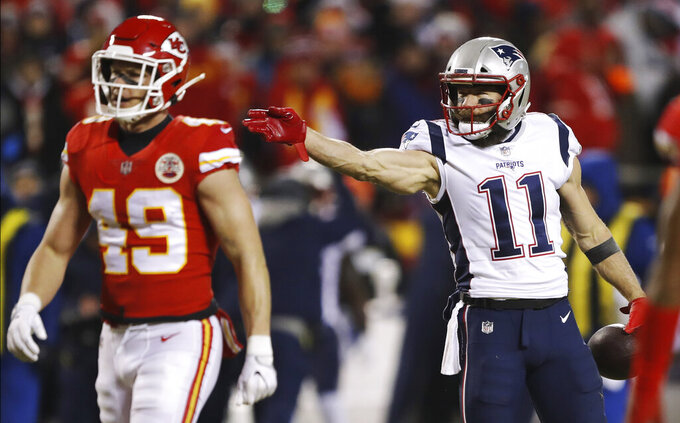 New England Patriots wide receiver Julian Edelman (11) reacts after making a catch for a first down during the first half of the AFC Championship NFL football game against the Kansas City Chiefs, Sunday, Jan. 20, 2019, in Kansas City, Mo. (AP Photo/Charlie Neibergall)