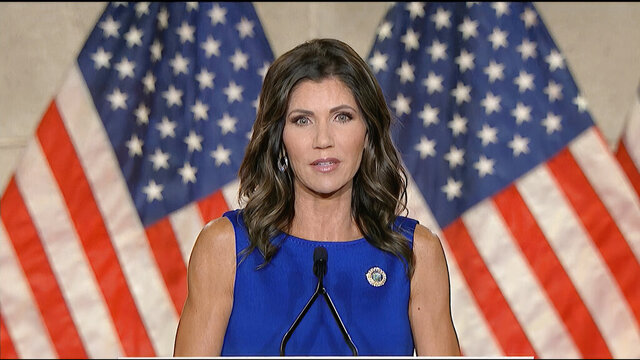 In this image from video, South Dakota Gov. Kristi Noem speaks during the third night of the Republican National Convention on Wednesday, Aug. 26, 2020.(Courtesy of the Committee on Arrangements for the 2020 Republican National Committee via AP)