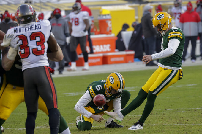 Green Bay Packers kicker Mason Crosby kicks a 24-yard field goal against the Tampa Bay Buccaneers during the first half of the NFC championship NFL football game in Green Bay, Wis., Sunday, Jan. 24, 2021. (AP Photo/Jeffrey Phelps)