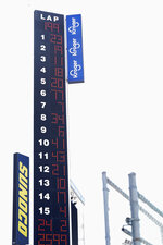 The leaderboard for a NASCAR Daytona 500 auto race practice session shows Bubba Wallace (23) at the top at Daytona International Speedway, Wednesday, Feb. 10, 2021, in Daytona Beach, Fla. (AP Photo/John Raoux)