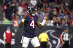 Houston Texans quarterback Deshaun Watson (4) celebrates after throwing a touchdown pass to wide receiver DeAndre Hopkins during the first half of an NFL preseason football game against the Detroit Lions Saturday, Aug. 17, 2019, in Houston. (AP Photo/Eric Christian Smith)