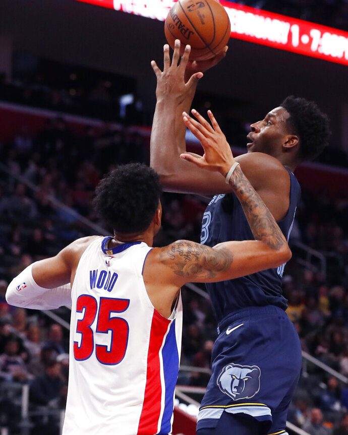 Memphis Grizzlies forward Jaren Jackson Jr., right, shoots over Detroit Pistons forward Christian Wood (35) during the first half of an NBA basketball game, Friday, Jan. 24, 2020, in Detroit. (AP Photo/Carlos Osorio)