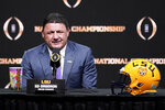LSU head coach Ed Orgeron speaks at a news conference for the NCAA College Football Playoff national championship game Sunday, Jan. 12, 2020, in New Orleans. Clemson is scheduled to play LSU on Monday. (AP Photo/Chris Carlson)