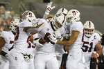 Stanford tight end Tucker Fisk (88) celebrates with teammates after scoring a touchdown during the first half of the team's NCAA college football game against Oregon State in Corvallis, Ore., Saturday, Dec. 12, 2020. (AP Photo/Amanda Loman)