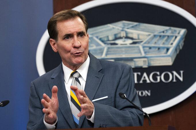Pentagon spokesman John Kirby speaks during a briefing at the Pentagon in Washington, Wednesday, May 5, 2021. (AP Photo/Manuel Balce Ceneta)