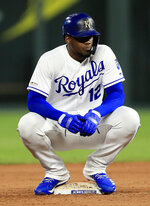 Kansas City Royals designated hitter Jorge Soler waits out a mound meeting while at second base during the fifth inning of the team's baseball game against the Detroit Tigers at Kauffman Stadium in Kansas City, Mo., Wednesday, June 12, 2019. (AP Photo/Orlin Wagner)
