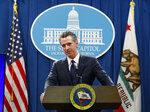FILE - In this Jan. 10, 2020, file photo California Gov. Gavin Newsom responds to a reporters questions during a news conference in Sacramento, Calif. Newsom's administration officially restarted a project on Wednesday, Jan. 15, that would divert water from the San Joaquin Delta and send it to Southern California. (AP Photo/Rich Pedroncelli, File)