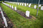 This photo taken June 13, 2018, shows the cemetery at the Carlisle Indian School in Carlisle, Pa. The U.S. Army Military Cemeteries group is disinterring four American Indian students who attended the Carlisle Indian School. They are among more than 180 children from 50 different tribes buried at the Carlisle Barracks. (Sean Simmers /The Patriot-News via AP)