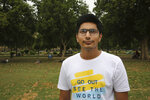 """In this Tuesday, April 16, 2019, photo, university student Jitesh Nagpal, 20, stands for a photograph in New Delhi, India. With nearly half the electorate under 35 and more than 15 million first time voters, India's young can swing the national vote  in the world's largest democracy in any direction. """"For me the biggest issue is job opportunities. Whichever party creates more jobs, for the new industries, will get my vote. Because I will have to start looking for jobs very soon,"""" Nagpal told the Associated Press.  (AP Photo/Manish Swarup)"""