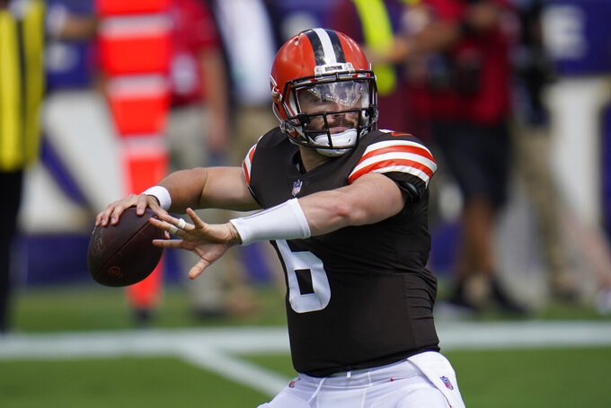 Cleveland Browns quarterback Baker Mayfield (6) looks to pass, during an NFL football game against the Baltimore Ravens, Sunday, Sept. 13, 2020, in Baltimore. (AP Photo/Julio Cortez)