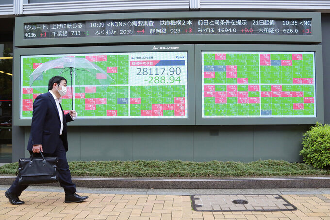 A man walks by an electronic stock board of a securities firm in Tokyo, Wednesday, May 19, 2021. Asian shares fell Wednesday, tracking a decline on Wall Street led by big technology stocks. (AP Photo/Koji Sasahara)