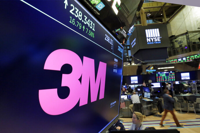 FILE- In this Oct. 24, 2017, file photo, the logo for 3M appears on a screen above the trading floor of the New York Stock Exchange. 3M plans to cut 2,000 globally as part of a restructuring due to a slower-than-expected 2019. The maker of Post-it notes, industrial coatings and ceramics said Thursday that the move is expected to save about $225 million to $250 million a year. (AP Photo/Richard Drew, File)