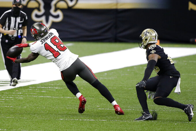 Tampa Bay Buccaneers wide receiver Tyler Johnson (18) makes the catch against New Orleans Saints free safety P.J. Williams (26) during the second half of an NFL divisional round playoff football game, Sunday, Jan. 17, 2021, in New Orleans. (AP Photo/Butch Dill)