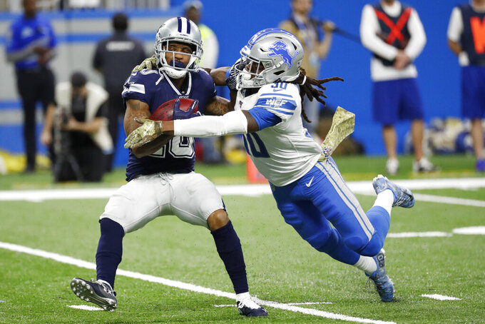Dallas Cowboys wide receiver Tavon Austin (10) is tackled by Detroit Lions defensive back Dee Virgin (30) during the first half of an NFL football game, Sunday, Nov. 17, 2019, in Detroit. (AP Photo/Rick Osentoski)
