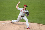 Philadelphia Phillies starting pitcher Aaron Nola delivers a pitch during the second inning of a baseball game against the Washington Nationals, Wednesday, Aug. 26, 2020, in Washington. (AP Photo/Nick Wass)