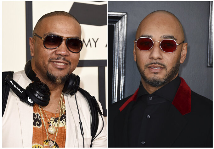 """This combination photo shows Timbaland at the 58th annual Grammy Awards in Los Angeles on Feb. 15, 2016, left, and Swizz Beatz at the 61st annual Grammy Awards in Los Angeles. The producers host a competition series """"Verzuz."""" The performances are streamed by artists usually from their homes on Instagram Live, which has become one of the go-to outlets for musicians to reach their fans as many across the world are home due to the coronavirus pandemic. Timbaland and Swizz kicked off the series, followed by other notable matchups like The-Dream and Sean Garrett, Ne-Yo and Johntá Austin, Scott Storch and Mannie Fresh, as well as T-Pain and Lil Jon which drew more than 280,000 live viewers. (Photos by Jordan Strauss/Invision/AP)"""