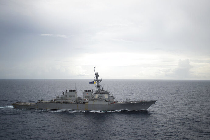 FILE - In this Oct. 13, 2016, file photo provided by the U.S. Navy, guided-missile destroyer USS Decatur (DDG 73) operates in the South China Sea as part of the Bonhomme Richard Expeditionary Strike Group (ESG). The commanding officer of the San Diego-based destroyer Decatur has been removed from command, the Navy announced Thursday, Jan. 16, 2020. Cmdr. John