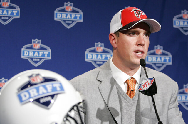FILE - In this April 26, 2008, file photo, Matt Ryan, a quarterback from Boston College, speaks at a news conference after being selected third overall by the Atlanta Falcons during fthe irst round of the NFL football draft in New York. Ryan has started all but three games over his 12-year career, earning four Pro Bowl appearances and the NFL's MVP award in 2016, when he led the Falcons to only the second Super Bowl appearance in team history. (AP Photo/Frank Franklin II, File)