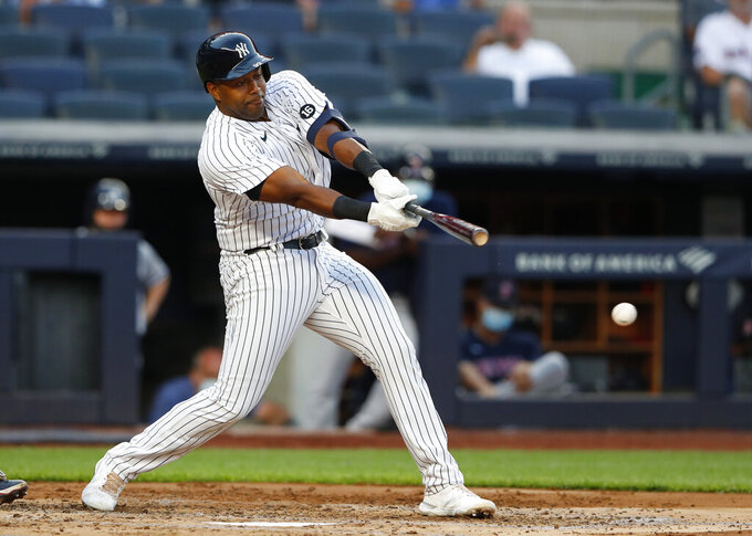 New York Yankees' Chris Gittens grounds out against the Boston Red Sox during the second inning of a baseball game Saturday, June 5, 2021, in New York. (AP Photo/Noah K. Murray)