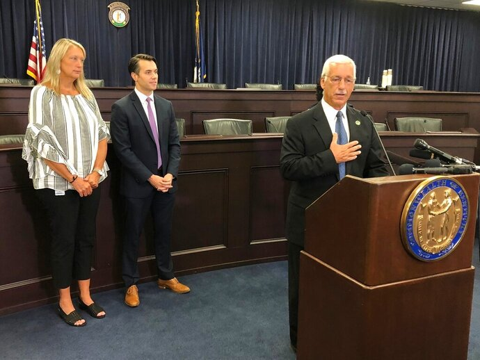Republican state Sen. Paul Hornback on Thursday, Aug. 8, 2019, discusses a gun safety proposal that's being drafted for introduction in the 2020 Kentucky legislative session. Hornback was joined by GOP Sen. Julie Raque Adams and Democratic Sen. Morgan McGarvey to discuss the bill, which would allow courts to issue temporary orders barring someone from possessing guns based on some showing that they pose a danger to themselves or others.