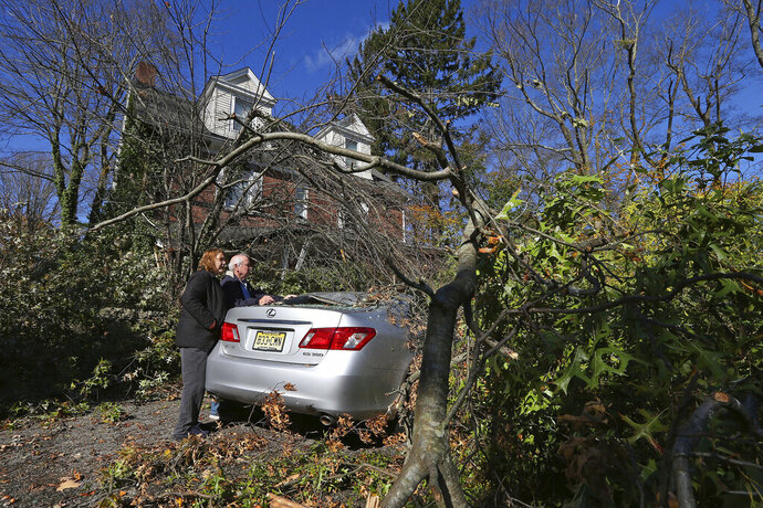 Lynda and Michael Behrens look at their crushed Lexus after an Oak tree from their backyard snapped and landed on both the car and front porch on Green Village Road, Friday, Nov. 1, 2019, in Madison, N.J. The borough was hit by high winds on heavy rain late the night before. (AP Photo/Rich Schultz)